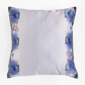 Подушка серая с синими цветами 40х40 см
