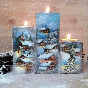 Набор подсвечников Деревенское рождество