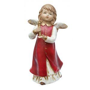 Ангел со свечей (красн) 17,5 см