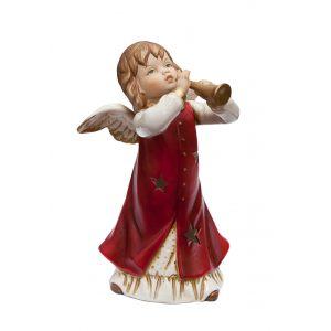 Подсвечник Ангел играющий муз инструменты (красн) 20 см