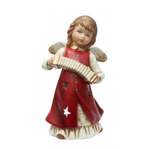 Подсвечник Ангел с музыкальным инструментом (красн) 20 см