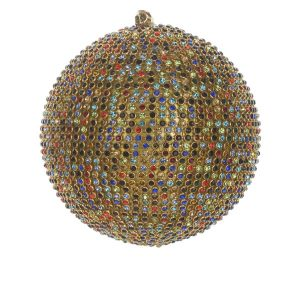 Елочная игрушка Шар с разноцветными камнями большой