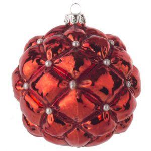 Елочная игрушка Красный шар с жемчужинами 10 см