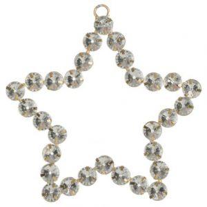 Елочная игрушка Золотая звезда с серебряными камнями