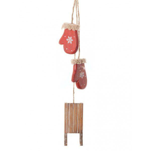 Елочная игрушка  Санки с красными варежками
