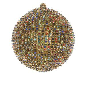 Елочная игрушка Шар с разноцветными камнями средний