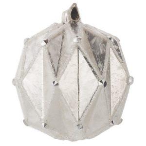 Елочная игрушка Шар белый ребристый 8 см