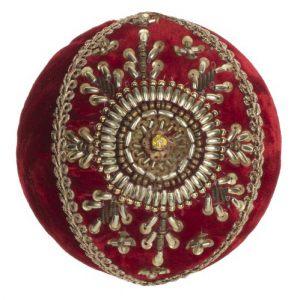 Елочная игрушка Красный шар с крупным камнем 7 см