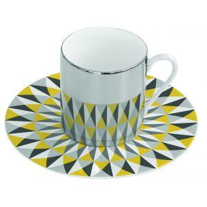 Зеркальная кофейная пара желтая Mirrored coffee