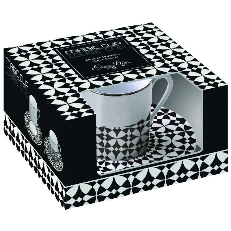 Зеркальная кофейная пара черно-белая Mirrored coffee