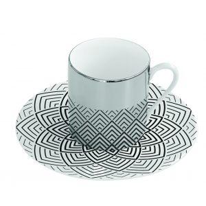 Зеркальная кофейная пара узор чёрно-белый Mirrored coffee