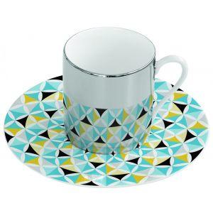 Зеркальная кофейная пара голубая Mirrored coffe