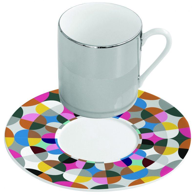 Зеркальная кофейная пара розовая Mirrored coffee