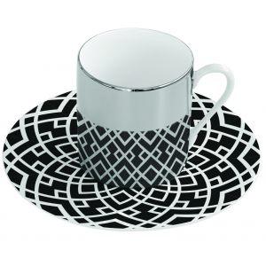Зеркальная кофейная пара чёрная Mirrored coffe