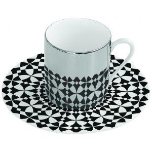 Зеркальная кофейная пара черно-белая Mirrored coffe