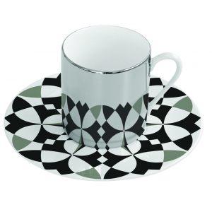 Зеркальная кофейная пара черно-белая геометрия Mirrored coffee