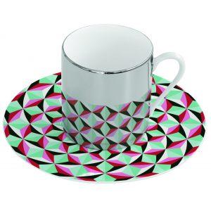 Зеркальная кофейная пара зеленая Mirrored coffee