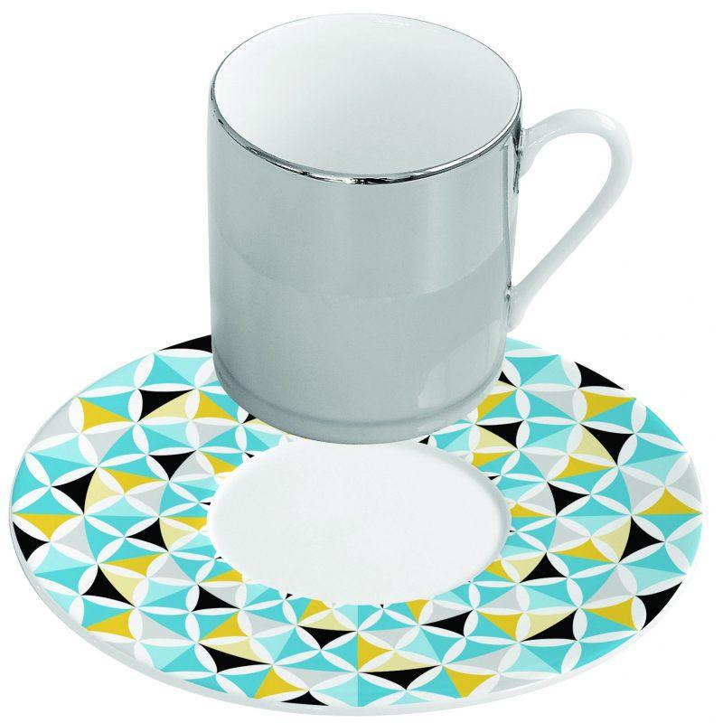 Зеркальная кофейная пара голубая Mirrored coffee