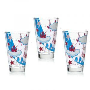 """Набор из 3 высоких стаканов для напитков """"UNICORNO"""" 310 мл."""