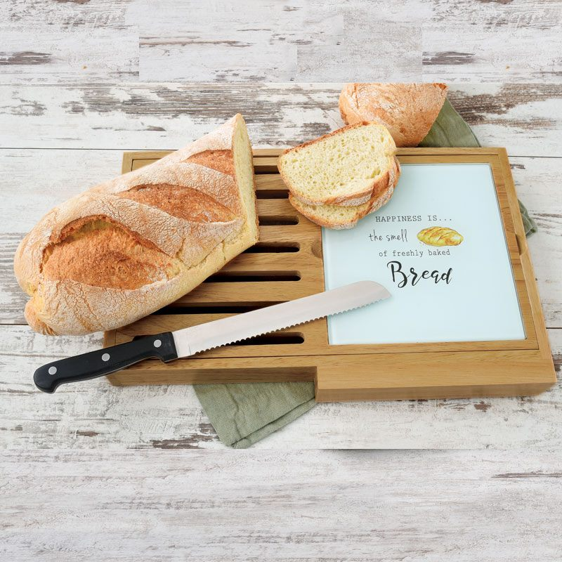 """Набор: доска для резки хлеба с ножом """"KITCHEN ELEMENTS"""""""