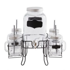 Набор: лимонадник, 4 банки с питьевыми соломинками на подставке 36x36x38 см./ 4 л.,0,4 л.