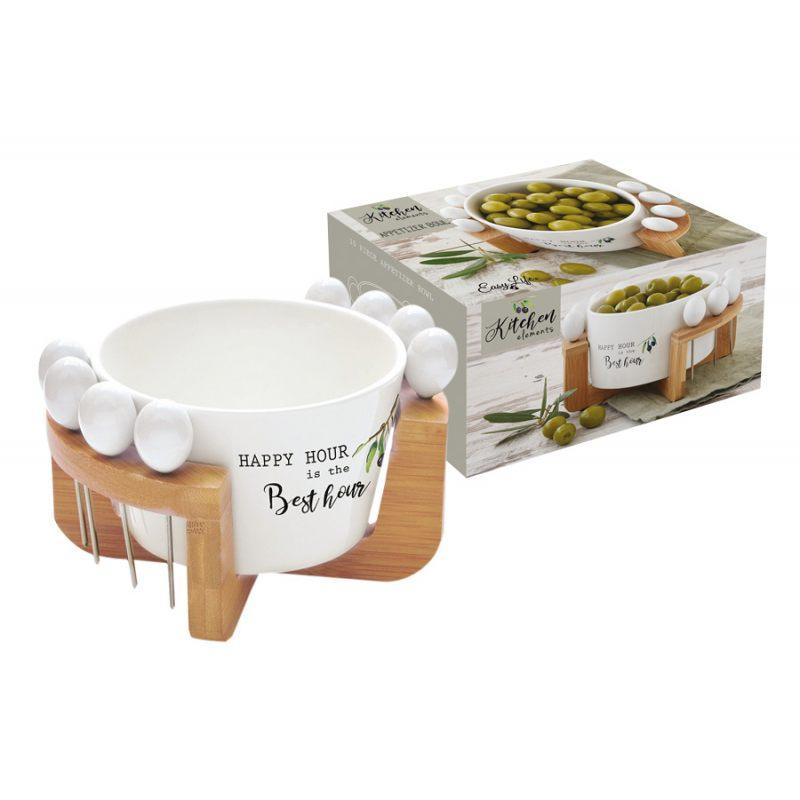 """Набор для закуски: чаша д/оливок + 8 шпажек на подставке """"Kitchen Element"""""""