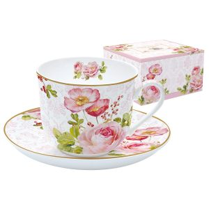 """Чашка с блюдцем """"Дамасская роза"""" 400 мл"""