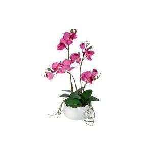 """Декоративные цветы """"Орхидея бордо"""" в керамической вазе 30 см"""