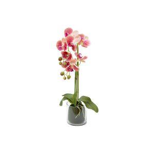 """Декоративные цветы """"Орхидея тёмно-розовая"""" в стеклянной вазе 26 см"""