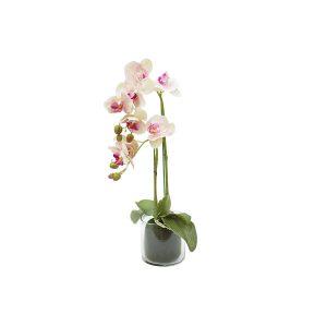 """Декоративные цветы """"Орхидея светло-розовая"""" в стеклянной вазе 26 см"""