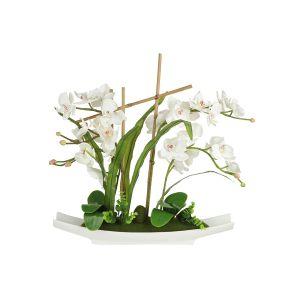 """Декоративные цветы """"Орхидея белая"""" на керамической подставке 56 см"""