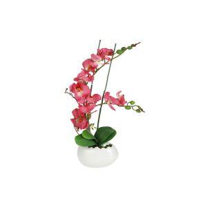 """Декоративные цветы """"Орхидея бордо"""" в керамической вазе 17 см"""