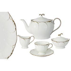 """Чайный сервиз из 17 предметов на 6 персон """"Белый с золотом"""""""