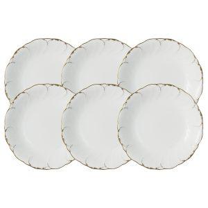 """Набор из 6 суповых тарелок """"Белый с золотом"""" 19 см"""