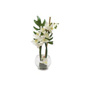 """Декоративные цветы """"Орхидея белая"""" в стеклянной вазе 22 см"""