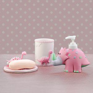 """Детский подарочный набор """"Динозаврик"""" (мыльница, дозатор для жидкого мыла, стакан для зубных щеток)"""