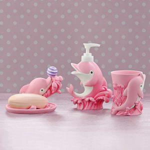 """Детский подарочный набор """"Дельфин"""" (мыльница, дозатор для жидкого мыла, стакан для зубных щеток)"""