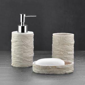 Подарочный набор №30 (мыльница, дозатор для жидкого мыла, стакан для зубных щеток) бежевый