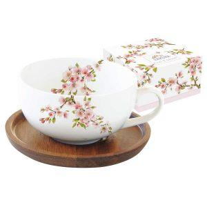 """Чашка с крышкой/подставкой из акации """"Японская сакура"""" в подарочной упаковке 250 мл"""
