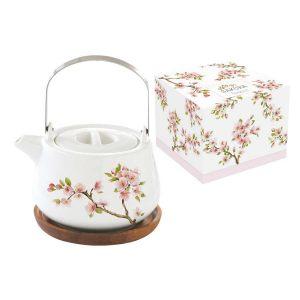 """Чайник на подставке из акации """"Японская сакура"""" в подарочной упаковке 750 мл"""