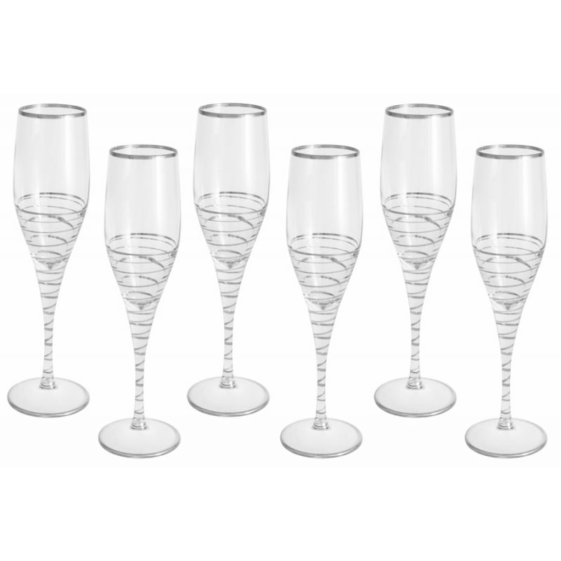 """Набор: 6 бокалов для шампанского """"Спираль"""" 200 мл"""