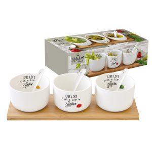 """Набор для закуски: 3 салатника 8 см с 3-мя ложками на подносе """"Kitchen Elements"""""""