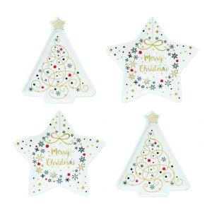 """Набор из 4-х блюдец для чайных пакетиков """"Merry Christmas"""" 10,5 см"""