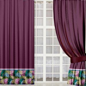 Бордовые шторы с гортензией