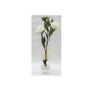 """Декоративные цветы """"Пионы белые"""" в стеклянной вазе"""