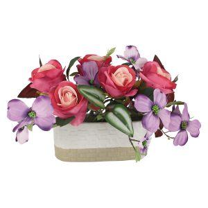 """Декоративные цветы """"Розы малиновые с сиреневыми цветами"""" в керамической вазе"""