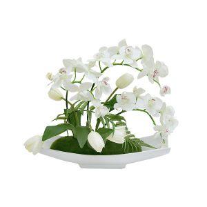 """Декоративные цветы """"Орхидея c тюльпанами"""" на керамической подставке"""