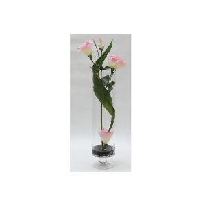 """Декоративные цветы """"Лизиантус розовый"""" в стеклянной вазе"""