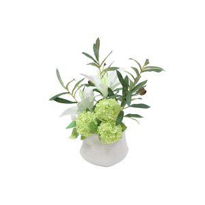 """Декоративные цветы """"Лилии белые и гортензии"""" в керамической вазе"""