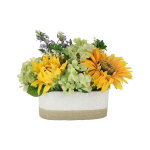 """Декоративные цветы """"Подсолнухи и гортензии"""" в керамической вазе"""